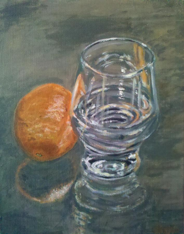 Glass Of Water And Orange Painting by Parrish Payton