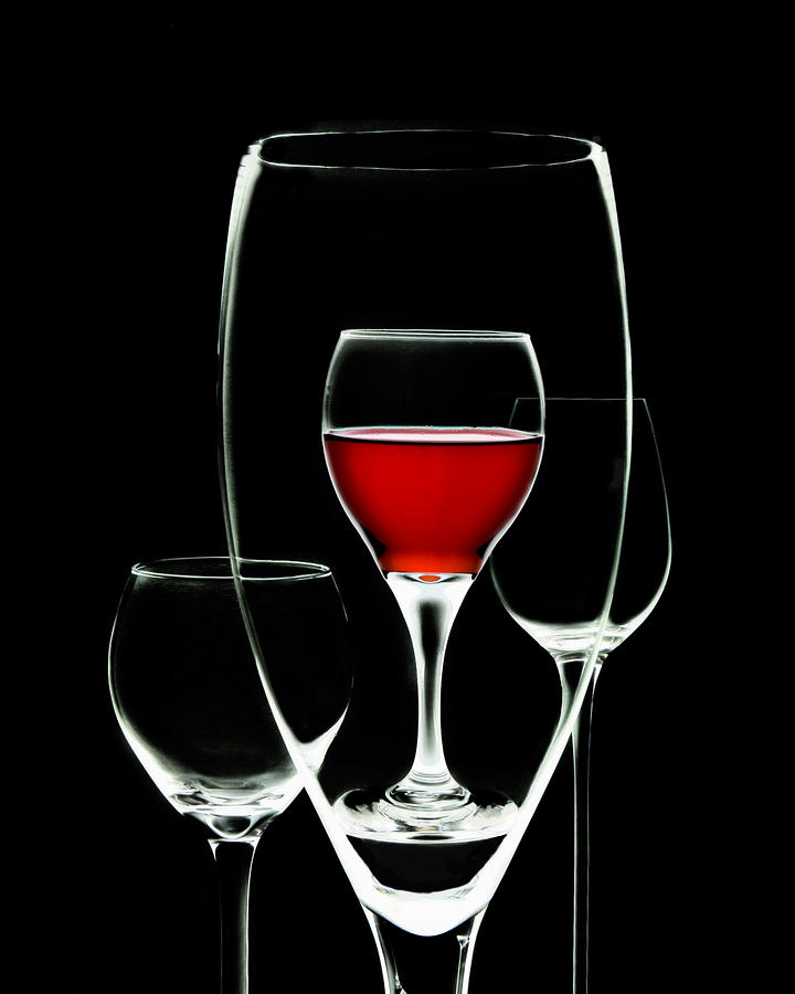 Glass Of Wine In Glass Photograph