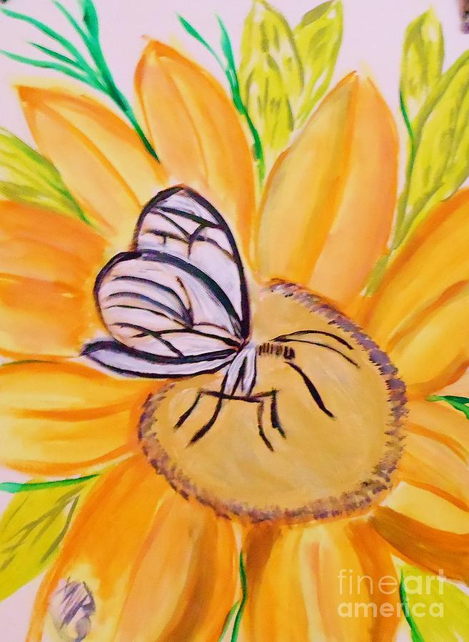 Glass Winged Butterfly Painting