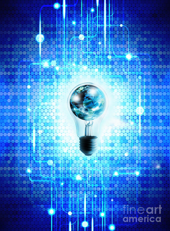 Globe And Light Bulb With Technology Background Photograph  - Globe And Light Bulb With Technology Background Fine Art Print