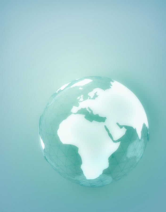 Globe Of Africa Europe And The Middle East Digital Art  - Globe Of Africa Europe And The Middle East Fine Art Print