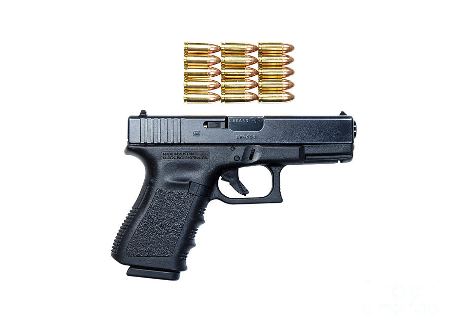Cutout Photograph - Glock Model 19 Handgun With 9mm by Terry Moore