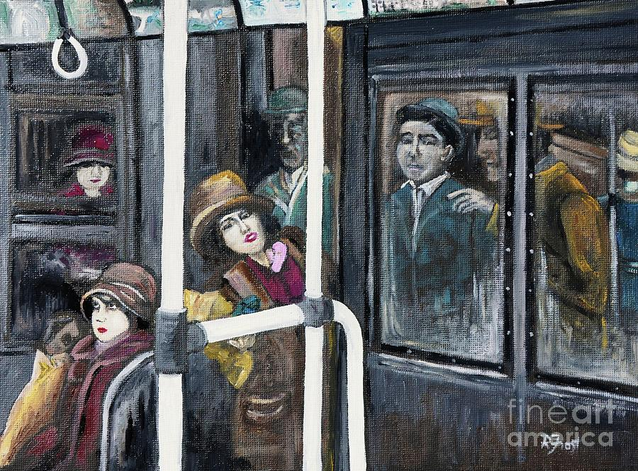 Gloria Swanson In Subway Scene From Manhandled Painting
