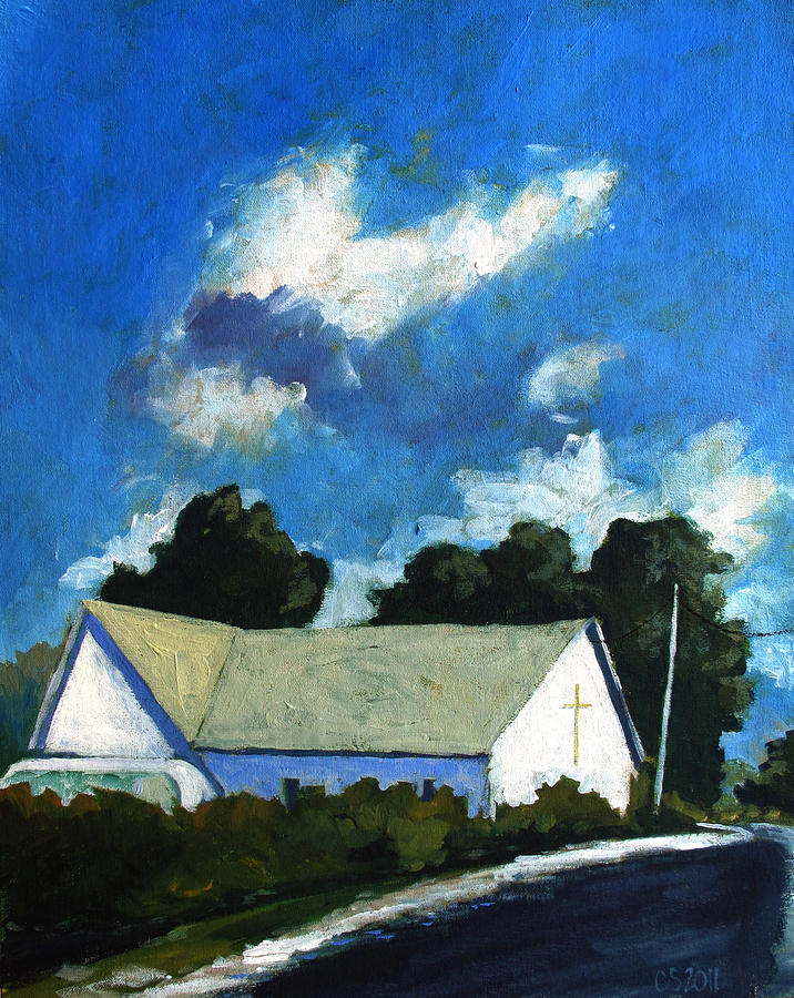 Church Painting - Glory Barn by Charlie Spear