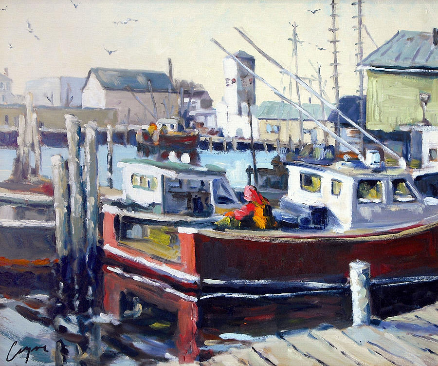 Gloucester Harbor And The Birdseye Tower Painting