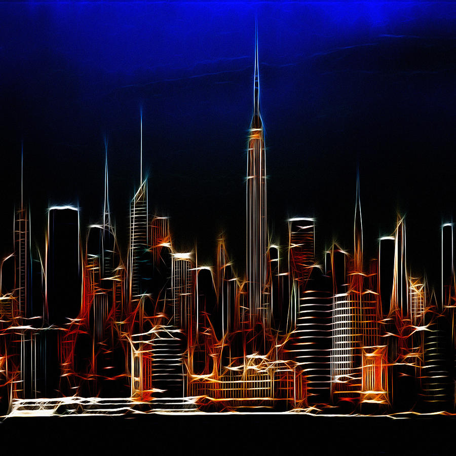 Glowing New York Digital Art  - Glowing New York Fine Art Print
