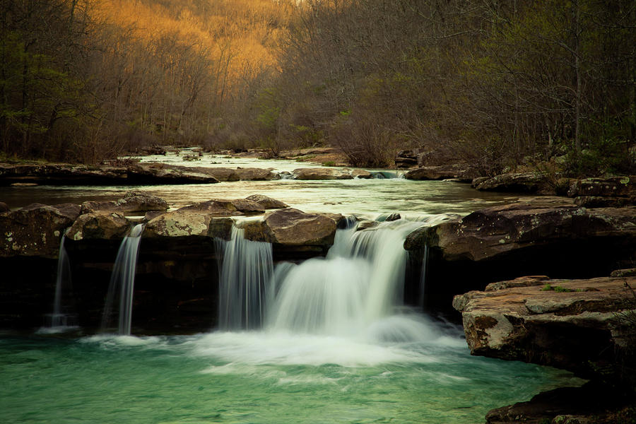 Glowing Waterfalls Photograph  - Glowing Waterfalls Fine Art Print