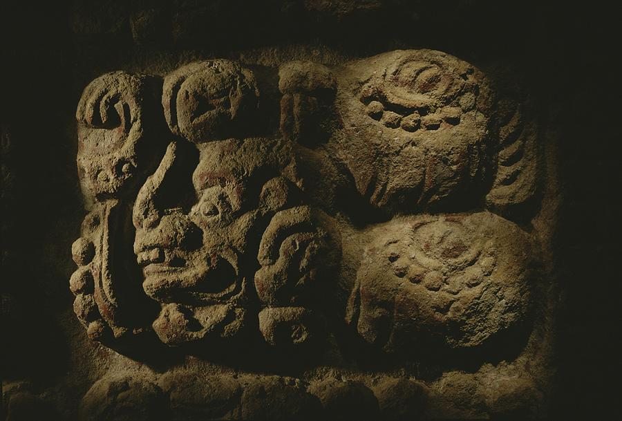 Single Object Photograph - Glyph Representing The Mayan Rulers by Kenneth Garrett