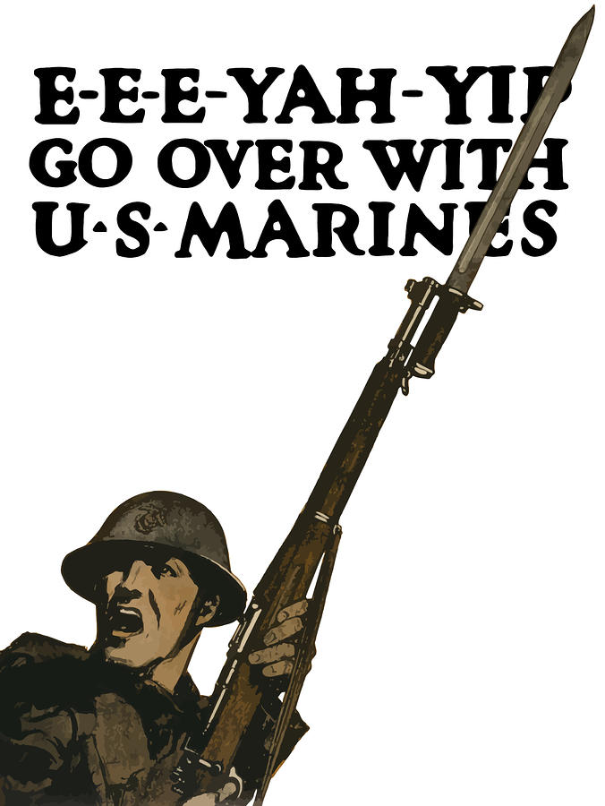 Go Over With Us Marines Painting  - Go Over With Us Marines Fine Art Print