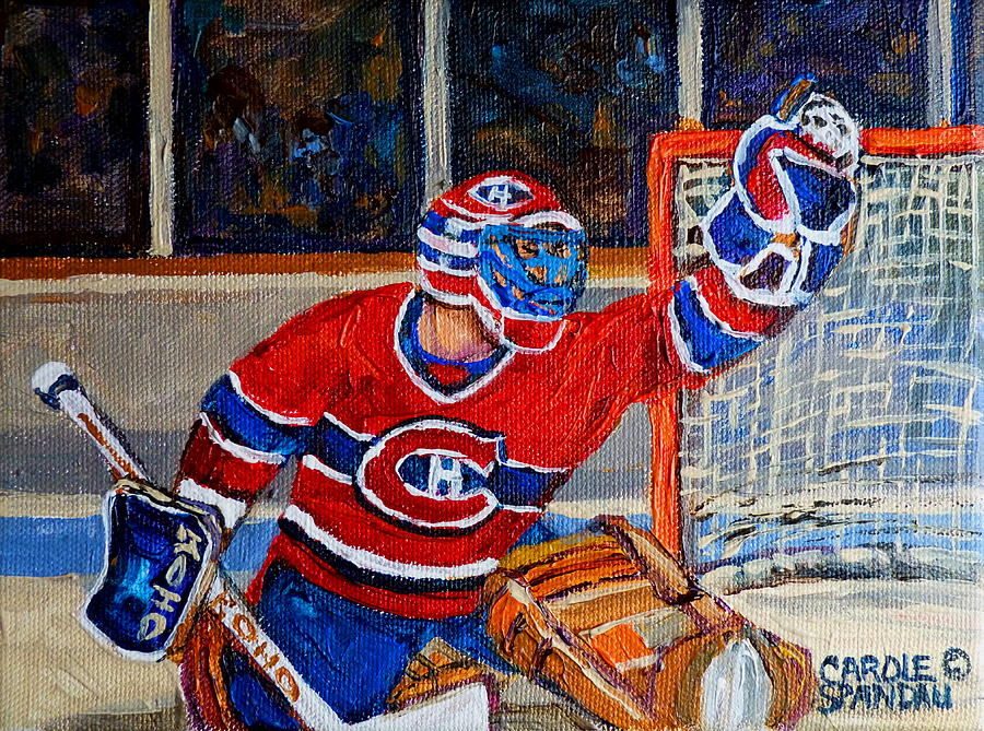 Goalie Makes The Save Stanley Cup Playoffs Painting  - Goalie Makes The Save Stanley Cup Playoffs Fine Art Print