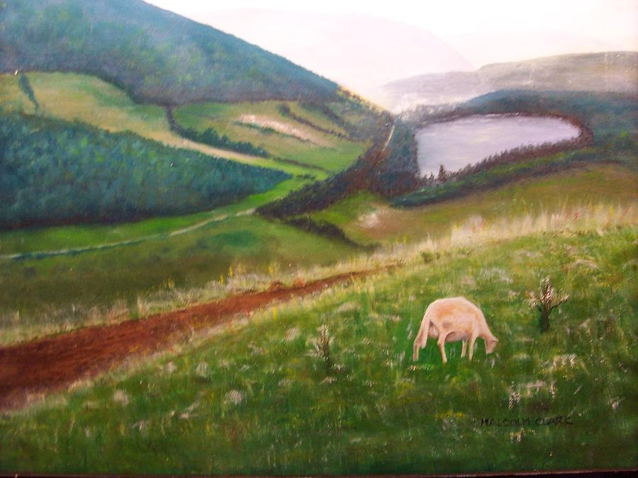 Mountain Painting - Goat On Welsh Mountain by Malcolm Clark