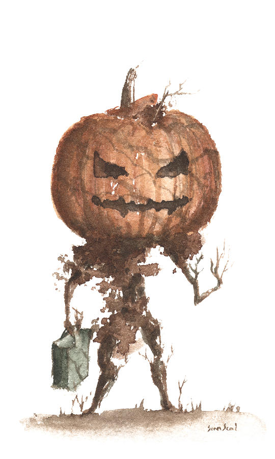 Goblin Tree Trick Or Treat Painting  - Goblin Tree Trick Or Treat Fine Art Print