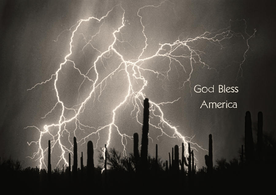 God Bless America Bw Lightning Storm In The Usa Desert Photograph