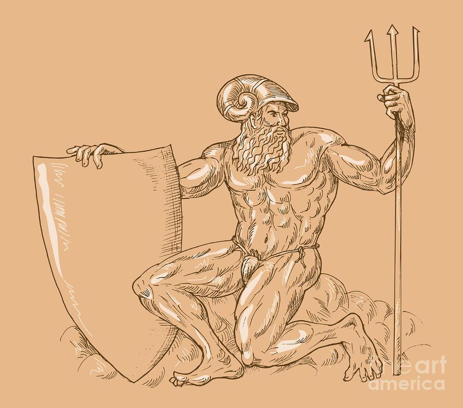 God Neptune Or Poseidon Digital Art