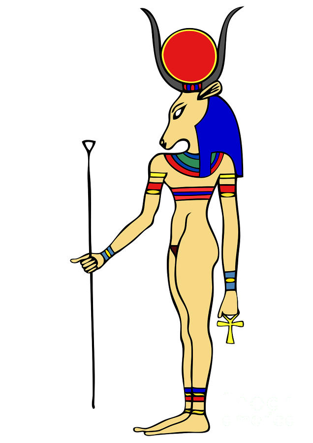 God Of Ancient Egypt - Hathor Digital Art  - God Of Ancient Egypt - Hathor Fine Art Print