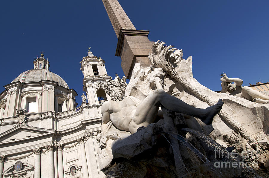 God Of The River Ganges. Fontana Dei Quattro Fiumi. Piazza Navona. Rome Photograph  - God Of The River Ganges. Fontana Dei Quattro Fiumi. Piazza Navona. Rome Fine Art Print