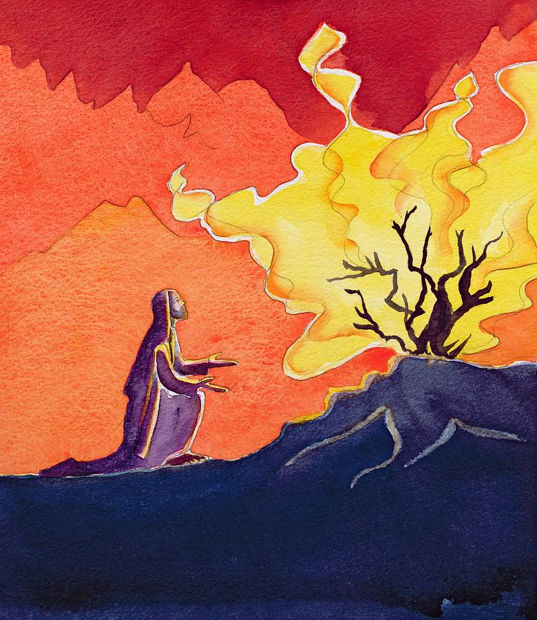 God Speaks To Moses From The Burning Bush Painting  - God Speaks To Moses From The Burning Bush Fine Art Print
