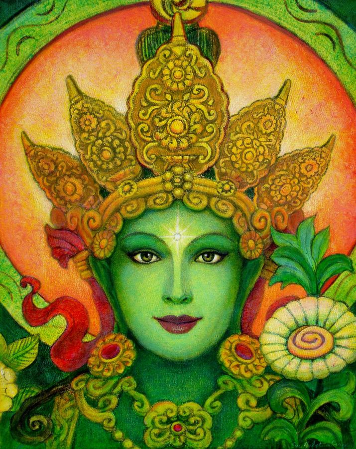 Goddess Green Taras Face Painting  - Goddess Green Taras Face Fine Art Print