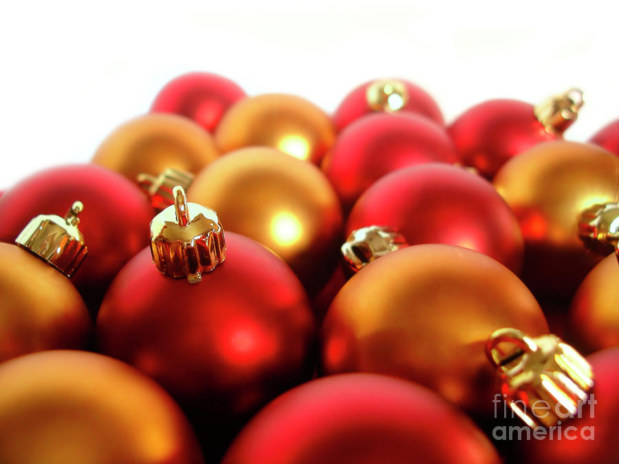 Gold And Red Xmas Balls Photograph  - Gold And Red Xmas Balls Fine Art Print