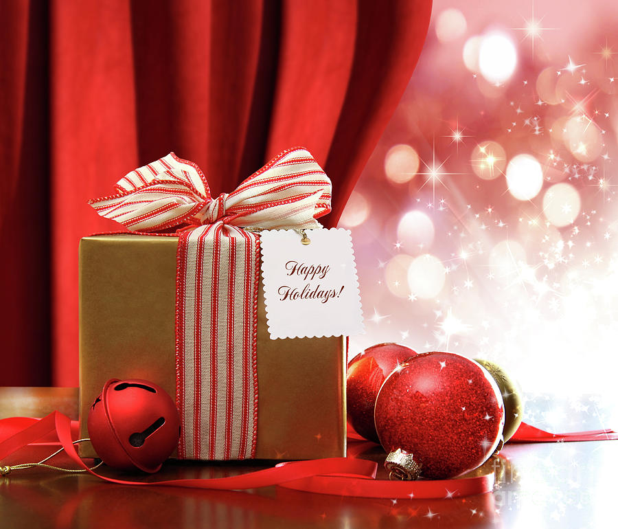 Gold Christmas Gift Box And Ornaments With Sparkle Lights  Photograph