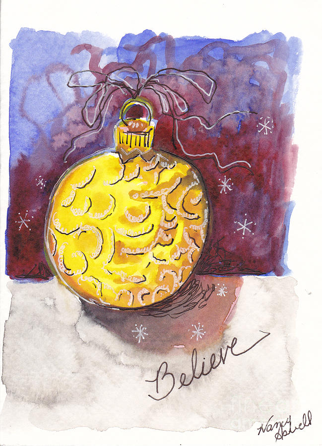Gold Christmas Ornament Painting