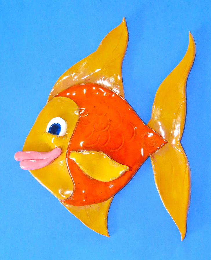 Gold Fish Ceramic Art  - Gold Fish Fine Art Print