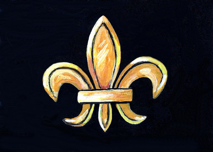 Gold Fleur De Lis On Black Painting