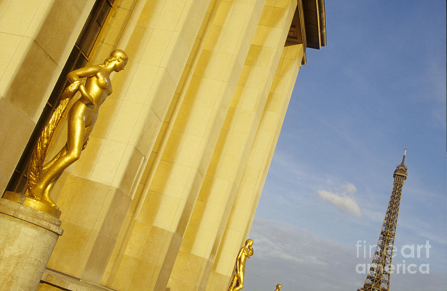 Gold Statue . Trocadero. Paris Photograph  - Gold Statue . Trocadero. Paris Fine Art Print