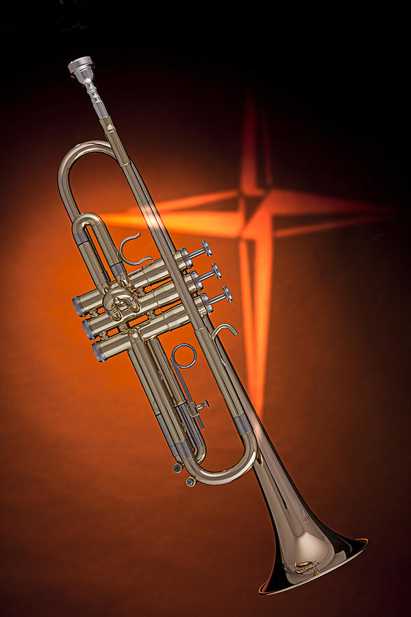Gold Trumpet With Cross On Orange Photograph