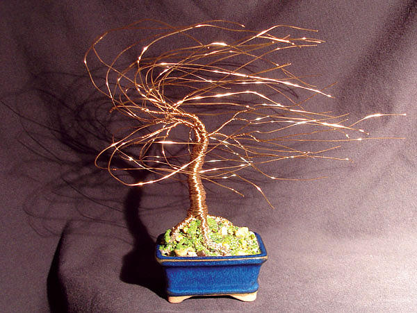 Gold Wind Swept Wire Tree Sculpture Sculpture