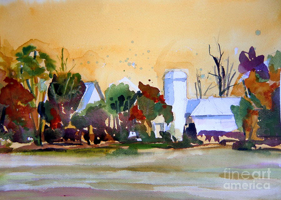 Golden Autumn Farm Painting