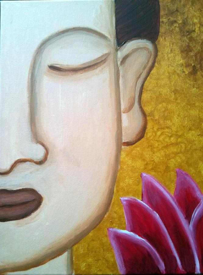 Golden Buddha Lotus Painting