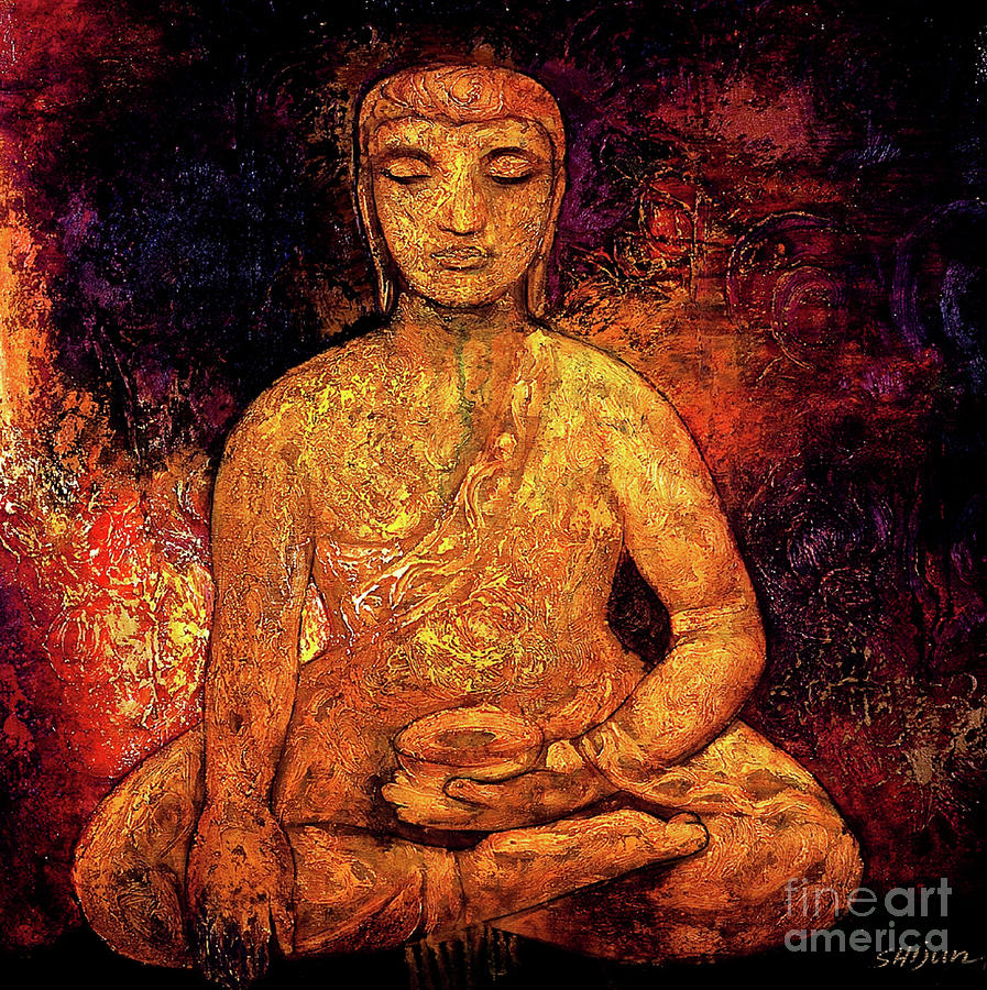 Golden Buddha Painting  - Golden Buddha Fine Art Print