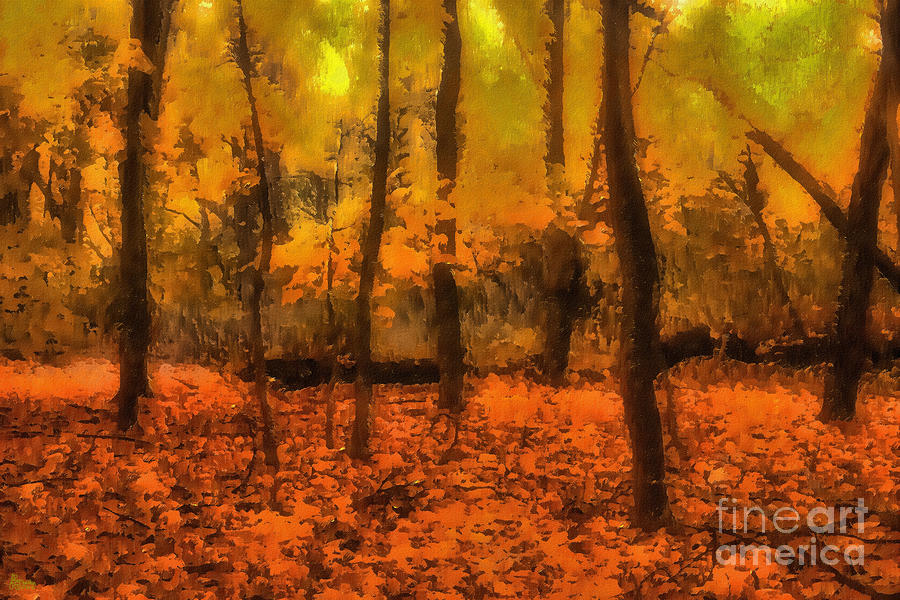 Golden Forest Digital Art  - Golden Forest Fine Art Print