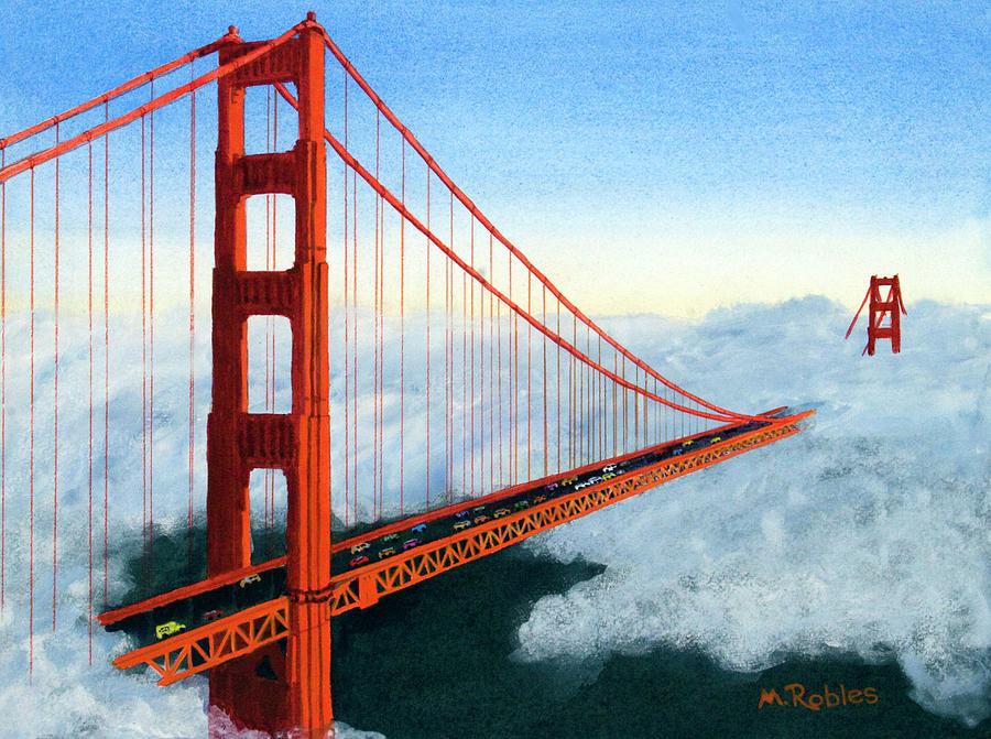 Golden gate bridge sunset painting