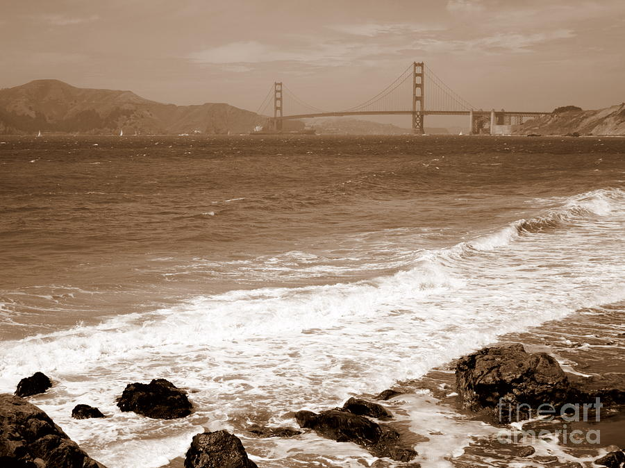 Golden Gate Bridge With Shore - Sepia Photograph