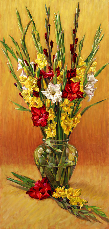Golden Gladiolus In Red Painting by Nancy Tilles