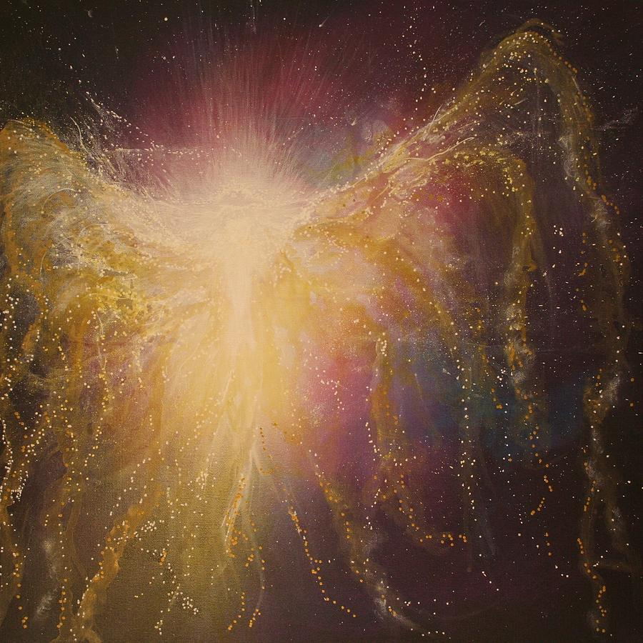 Golden Healing Angel Painting  - Golden Healing Angel Fine Art Print