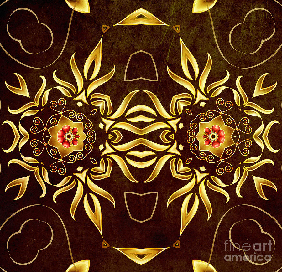 Golden Infinity Digital Art  - Golden Infinity Fine Art Print