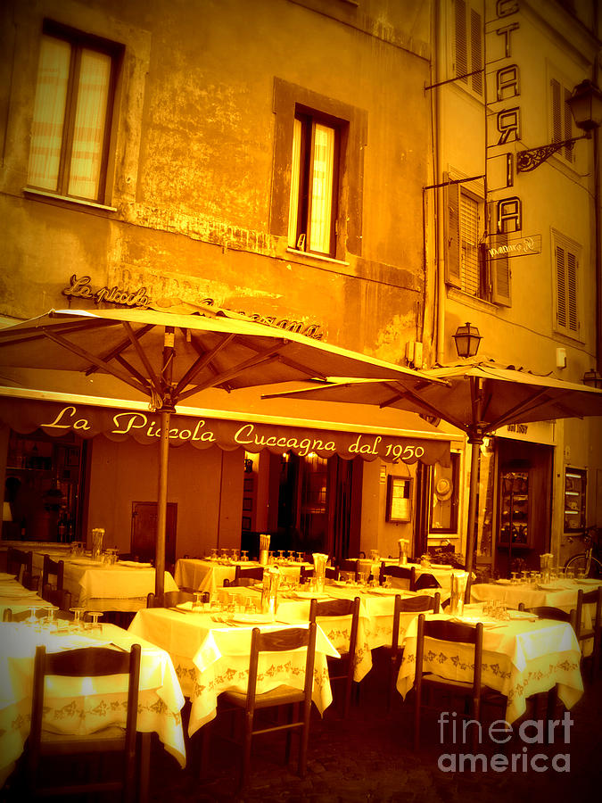 Golden Italian Cafe Photograph  - Golden Italian Cafe Fine Art Print
