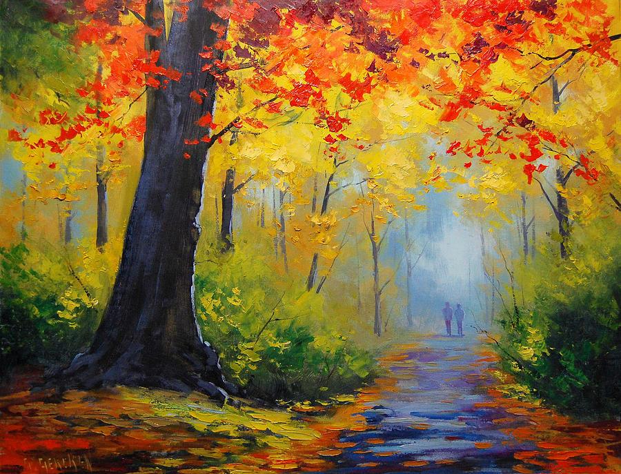 Golden Landscape Painting