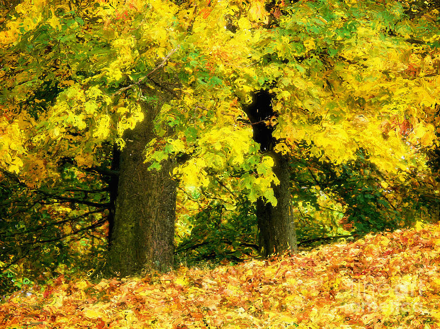 Golden October Digital Art  - Golden October Fine Art Print