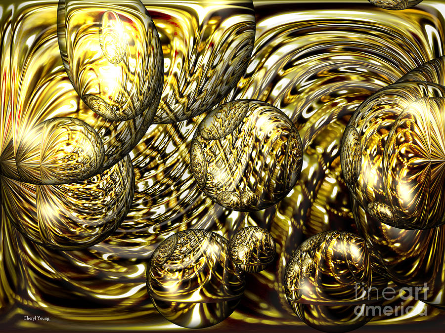 Gold Photograph - Golden Orbs by Cheryl Young
