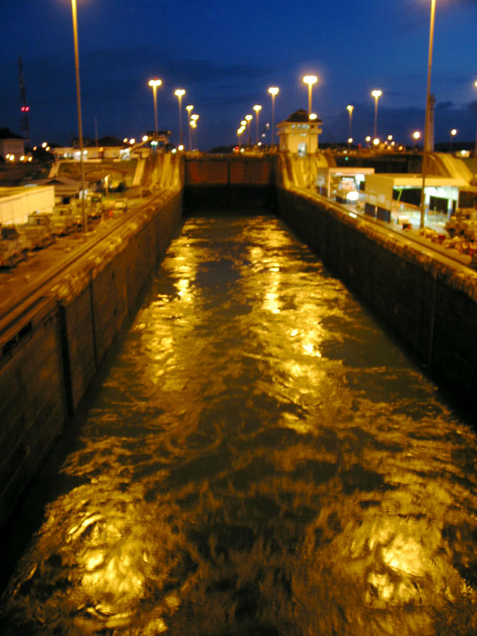 Golden Panama Canal Photograph