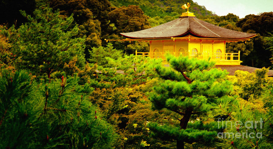 Golden Pavilion Temple In Kyoto Glowing In The Garden Painting  - Golden Pavilion Temple In Kyoto Glowing In The Garden Fine Art Print
