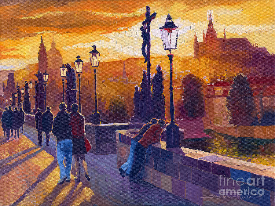 Golden Prague Charles Bridge Sunset Painting  - Golden Prague Charles Bridge Sunset Fine Art Print