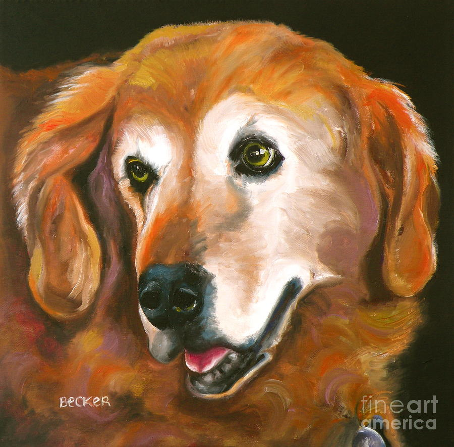 Golden Retriever Fur Child Painting  - Golden Retriever Fur Child Fine Art Print