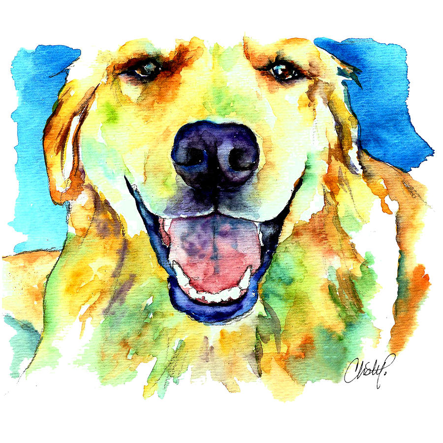 Golden Retriever Portrait Painting  - Golden Retriever Portrait Fine Art Print