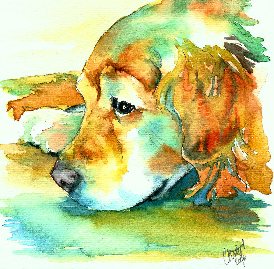 Golden Retriever Profile Painting  - Golden Retriever Profile Fine Art Print
