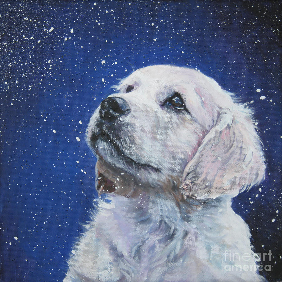 Golden Retriever Pup In Snow Painting  - Golden Retriever Pup In Snow Fine Art Print